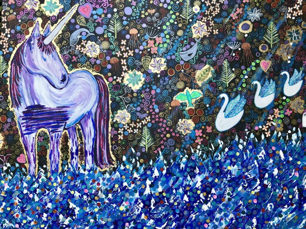 UNICORN STANDING, Unicorn painting.